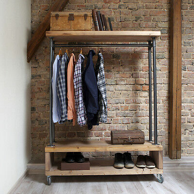 Nene Industrial Style Wooden Metal Clothes Rail Rack Stand