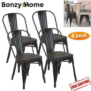 30-034-Metal-Counter-Stool-Dining-Chair-Backrest-Set-of-4-Stackable-Side-Wood-Seat