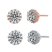 Rozatto Rhodium Plated Clear Round Cubic Zirconia Halo Button Style Earrings