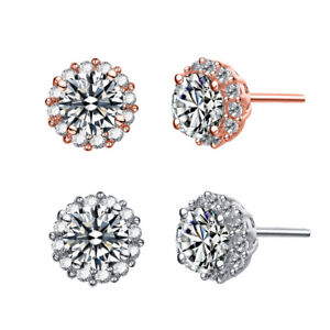 Rozatto-Rhodium-Plated-Clear-Round-Cubic-Zirconia-Halo-Button-Style-Earrings