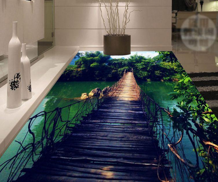 3D Landscape Bridge Floor WallPaper Murals Wall Print Decal 5D AJ WALLPAPER