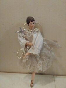Elegant-Porcelain-BALLERINA-Doll-Ornament-brunette-girl-in-white-tutu-8-034