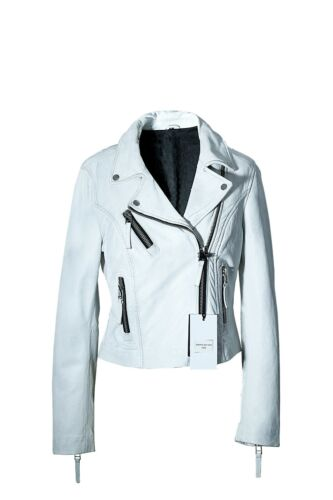 Women Ladies Sheep Leather Jacket Zip Up Biker Casual Outwear LCF3