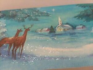 UNUSED-Vtg-GLITTER-REINDEER-Near-Church-Coronation-CHRISTMAS-GREETING-CARD