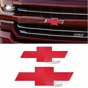 Front Rear Red Carbon Emblem Badge Decal Sticker For CHEVY 2014-2017 Silverado