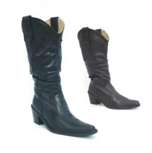 Senoras-para-mujer-BNIB-Autentico-Cuero-Cowboy-Western-Estilo-becerro-Botines-Zapatos-Talla