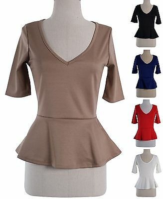 Cute Solid Colors Fitted V Neck 3/4 Sleeve Tunic PEPLUM Skater Top Blouse Shirt