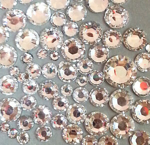 400-pcs-2mm-6mm-Clear-Crystal-Resin-round-Rhinestones-Flatback-Mix-SIZE