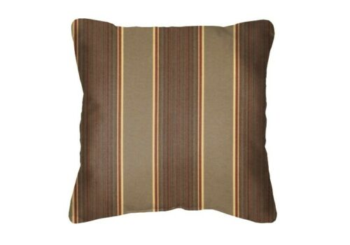 Set//2 Brown Striped Square Acryl Throw Pillows Sunbrella Davidson Redwood 5606