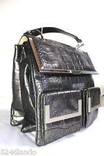 Gianni VERSACE Unisex Antique Silver Moc Croc Leather Tote Handbag Hand Bag