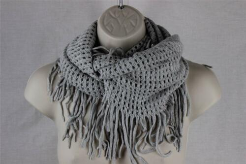 Infinity Circle Cowl Knit Fringe Scarf Acrylic KP-22 D64