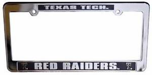 Texas Tech Red Raiders Auto License Plate Frame Chrome Film & Black