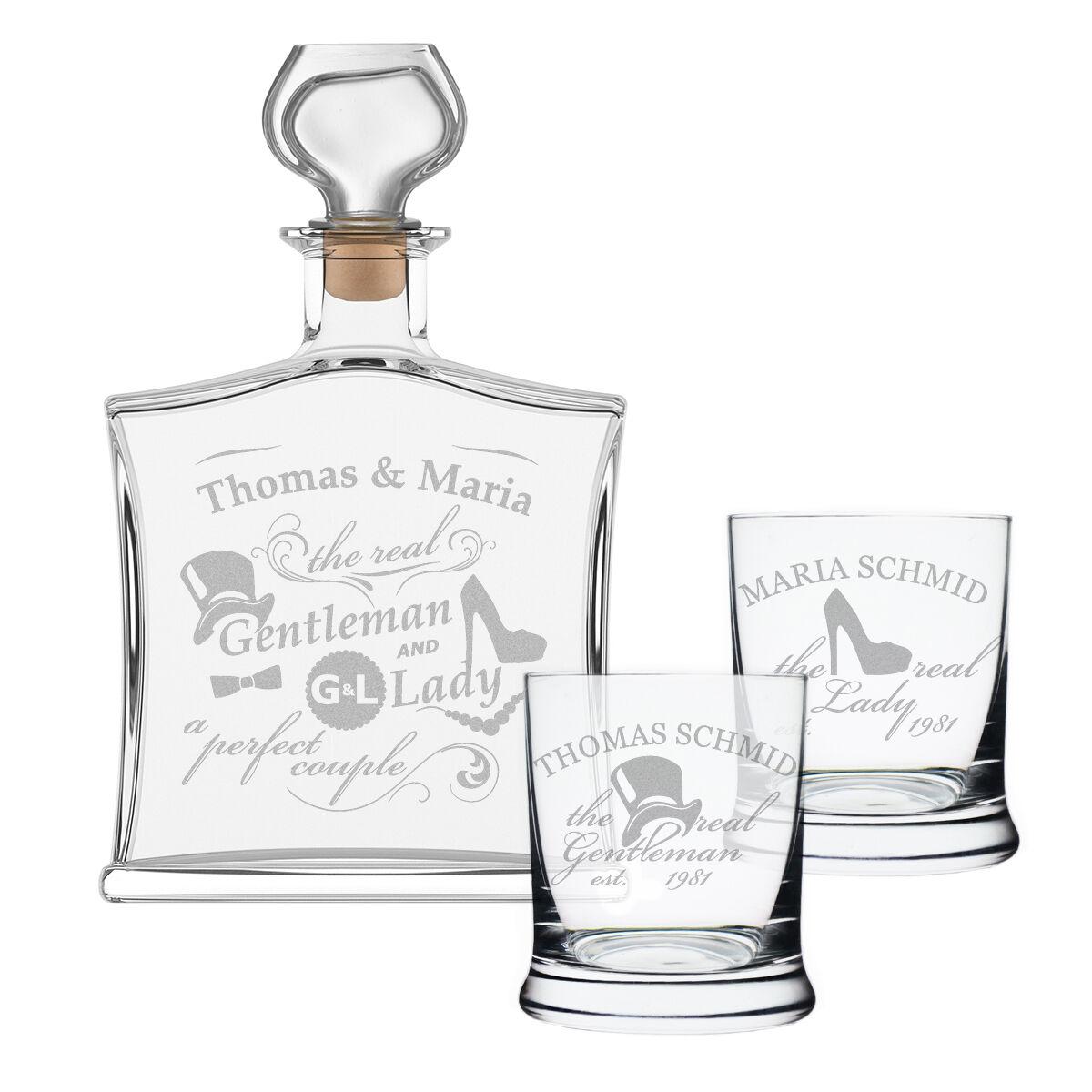 3 pièces ENSEMBLE-CADEAU avec bouteille de whisky et 2x verres incl. gravure