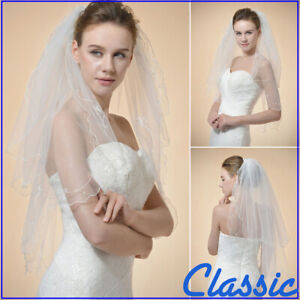 Classic-White-Ivory-Lace-Veil-Elbow-Length-2-Layers-Floral-Wedding-Bridal-Veils