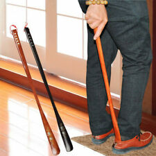 55cm Upper Flexible Long Handle Reach Easy On Shoehorn AID Wood Craft Shoes Horn