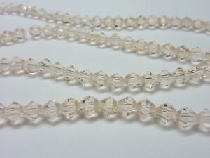 120-pce-Pink-Faceted-Bicone-Crystal-Glass-Beads-4mm-Jewellery-Making-Craft