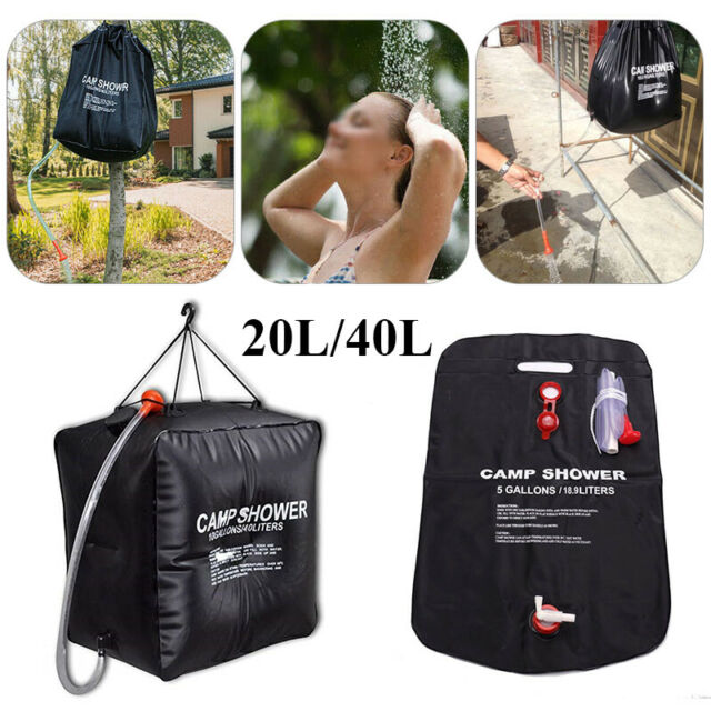 20 40l Solar Water Heated Camping Shower Bag Portable Outdoor Hiking Camp Uk