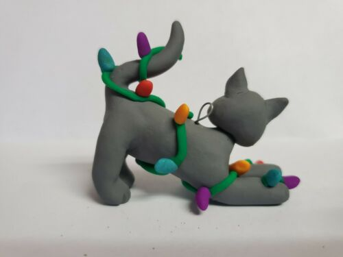 GRAY CAT Christmas Ornament TANGLED IN LIGHTS Stretching HAND MADE