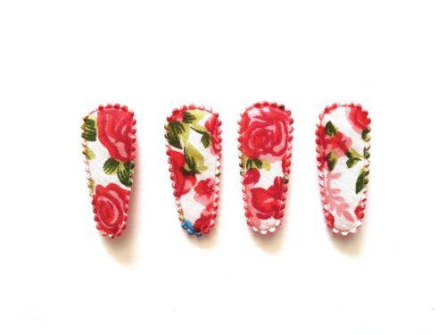 36pcs Vintage Rose Flower Printed Hair Clip COVERS Size 35 mm Mix Colors