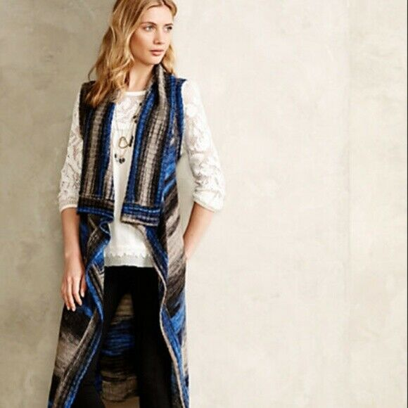 Moth Anthropologie bluee Space Dyed Striped Duster Cardigan Sweater Vest XS   S