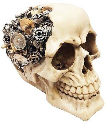 Steampunk Protruding Gearwork Cyborg Robotic Human Skull Figurine Skeleton