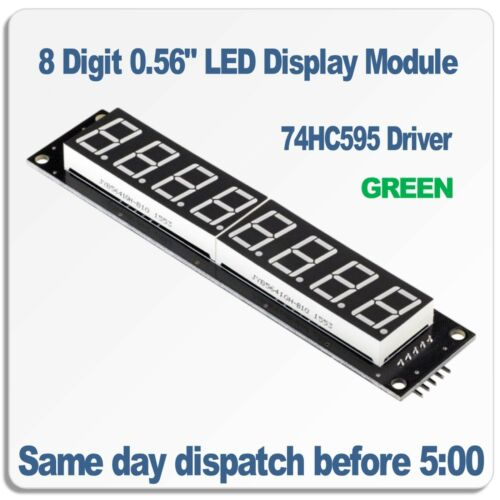 "8 Digit DEL 7 Segments Display Module 0.56/"" Green 74hc595 Driver robotdyn"