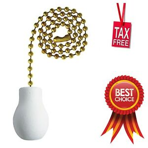 """NEW JANDORF 60322 BRASS AND WHITE CERAMIC CEILING FAN PULL CHAIN 12/"""" 3403904"""