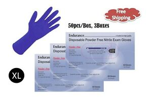 "12"" High Risk Powder Free Nitrile Exam Gloves - 150pcs; 8 Mil, Chemo Tested XL"