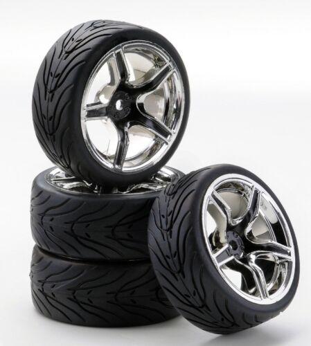 Carson 500900545 SC-Räder AMC Style chrom//schwarz 4 Stück Glattbahn 1//10