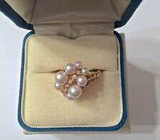 Mikimoto Graduated Cluster Akoya Pearls & Diamond Ring, 18K Gold - Size 6