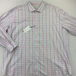 Robert-Graham-Mens-Dress-Shirt-White-Pink-Plaid-Classic-Fit-Tall-50-20-36-37-New