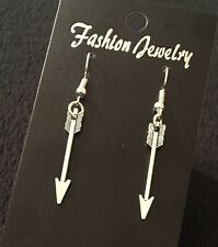 Arrow Earrings Daryl Dixon The Hunger Games Silver Crossbow Spear Steampunk Bow
