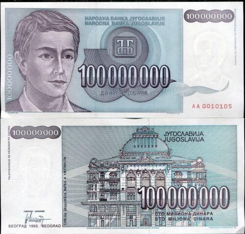 YUGOSLAVIA 100,000,000 DINARA 1993 P 124 AUNC LOT 5 PCS