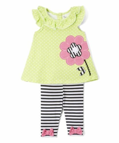 NWT Nannette Green Flower Tunic Striped Leggings Outfit Set 4T 5 6