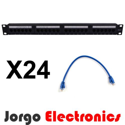 """19/"""" Inch CAT6 24 Port Patch Panel /& 24 CAT6 Patch cables 0.25m"""