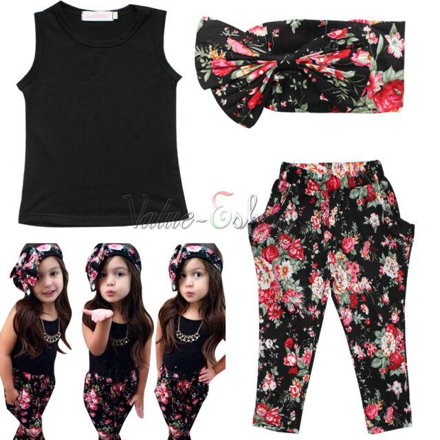 3pcs Toddler Kids Girls Clothes Headband Scarf +T-shirt+Floral Pants Set Outfits