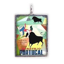 Vintage Travel Mini-Poster of Ribatejo Portugal, Enameled Pendant #HC-EF210
