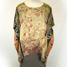 NEW NWT Citron Clothing Plus Size Kimono 100% Silk Tunic Blouse O/S (1X 2X 3X)