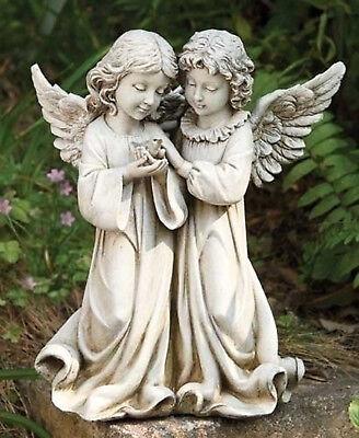"""12.25"""" Double Angels With Bird Outdoor Garden Statue Joseph's Studio # 66745"""