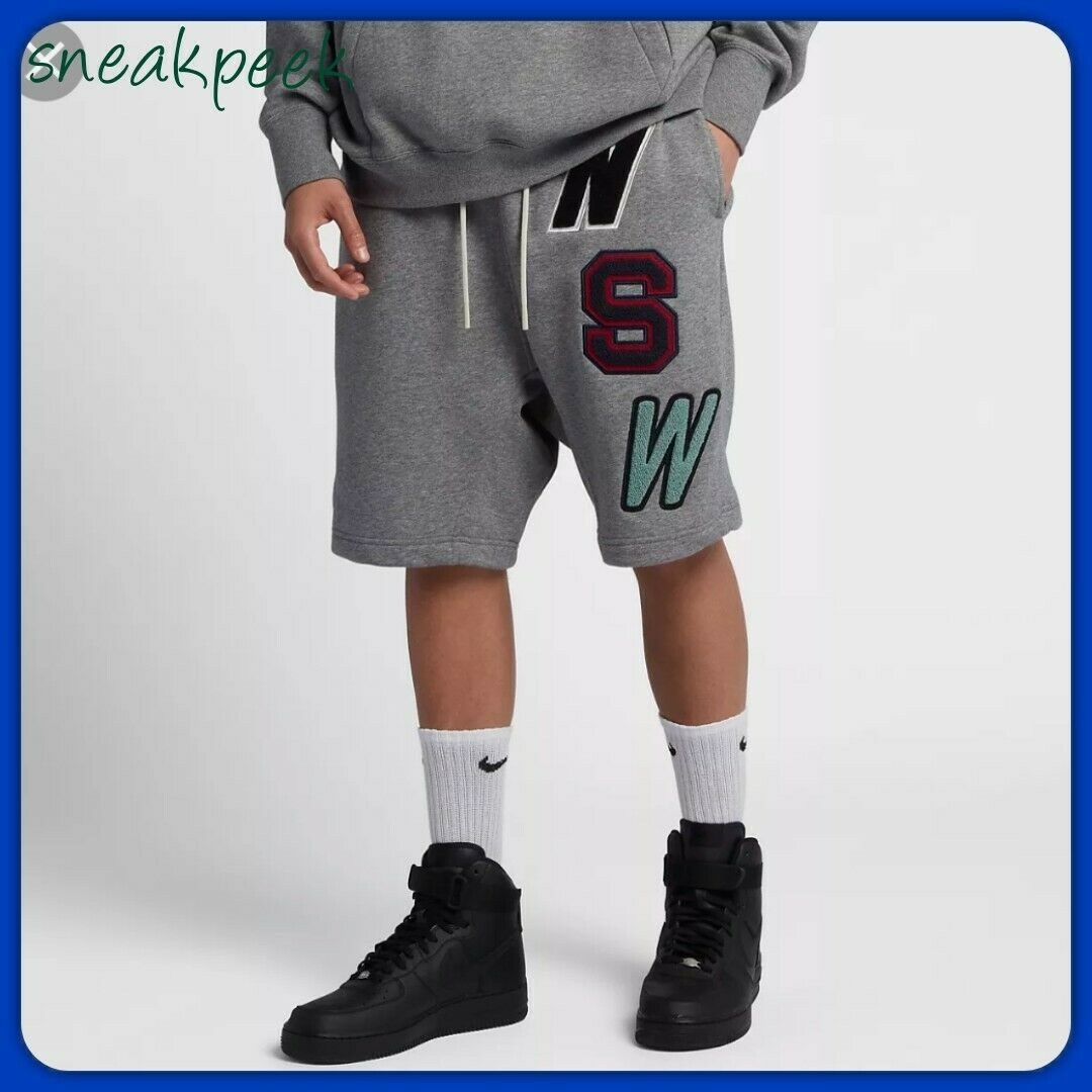 MENS NIKE NSW LOOSE-FIT FLEECE SHORTS SIZE L 930248 091 CARBON HEATHER