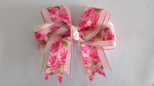 """20 BLESSING Happy Girl 4.5/"""" Rose Cheer Hair Accessories Bow Clip National Flower"""