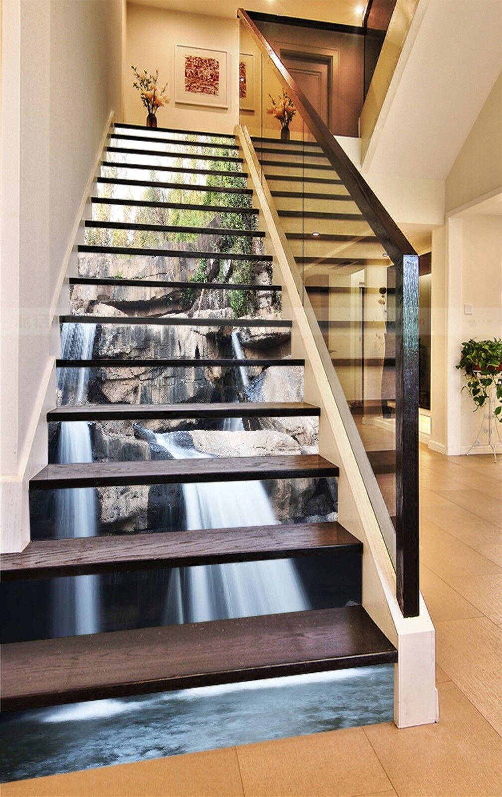 3D Steile Fluss 116 Stair Risers Dekoration Fototapete Vinyl Aufkleber Tapete DE