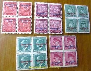 EBS-Slovakia-1939-034-Slovensky-tat-1939-034-overprints-BLOCKS-OF-FOUR-MNH