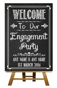 Image Is Loading Chalkboard Welcome To Our Engagement Party Vintage Personalised