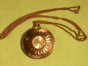 Vintage-Ladies-Buler-Swiss-Made-Necklace-Pendant-Watch-17-Jewels