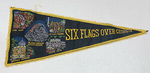 Vintage-Souvenir-Pennant-Six-Flags-Over-Georgia-Rollercoaster-Japan-Made