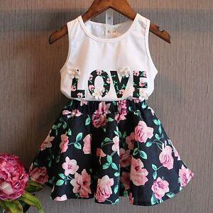 70612d3f5f5e 2PCS Toddler Kids Baby Girls T-shirt Tops+Floral Skirt Dress Clothes ...