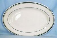 Shenango China Restaurant Ware Plate Oval White Green Bands Restaurantware