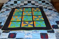 Windmill Crib Quilt S4, Intricately Pieced, 34 X 42 Handmade, Quality Flannel