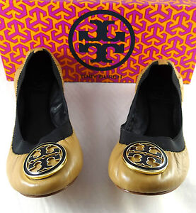 Image is loading Tory-Burch-Caroline-Ballet-Sand-Leather-Flats-shoes-
